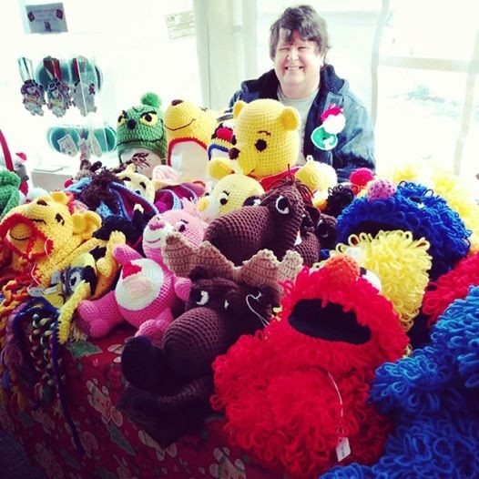 Mary Cooke and her crochet creations.