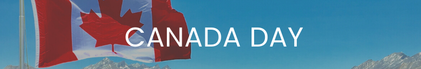 Canada Day text with Canada flag flying behind the text