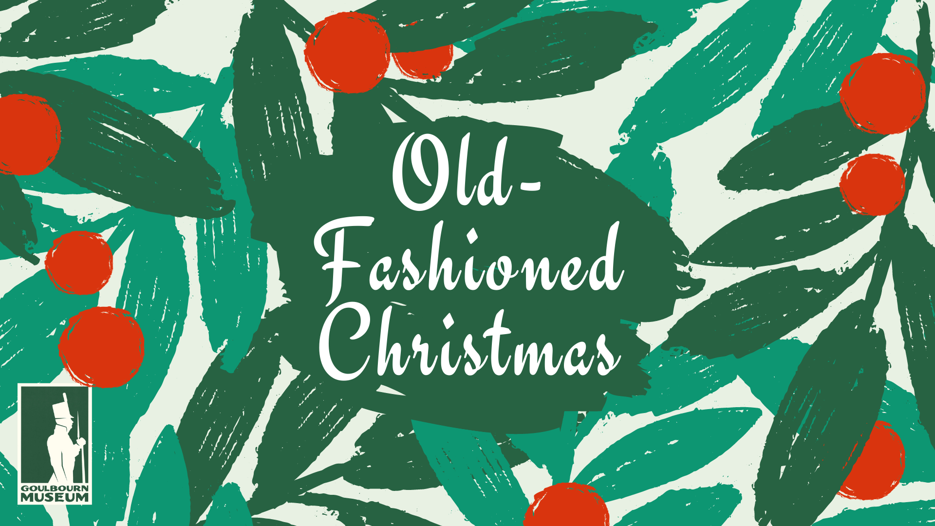 Old-Fashioned Christmas text with wreath background