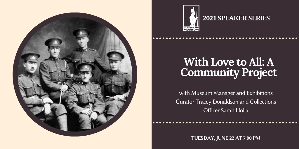 Photo of Richmond based soldiers prior to World War One and the text With Love to All: Community Project